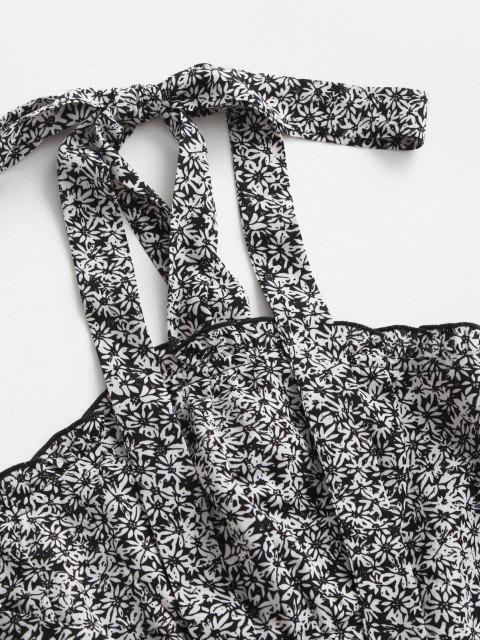 ZAFUL Robe Fleurie Imprimée Nouée à Volants - Noir L Mobile