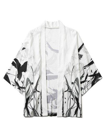Bird Plant Feather Graphic Print Open Front Kimono Cardigan - White M
