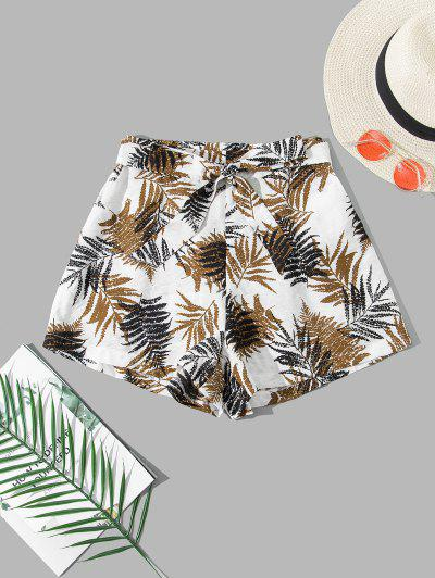 ZAFUL Leaf Print Belted Pocket Wide Leg Shorts - White M