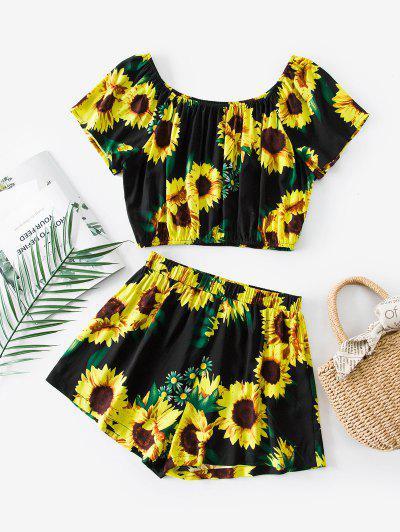 ZAFUL Sunflower Print Co Ord Set - Black M