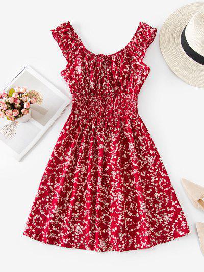 ZAFUL Robe Fleurie Imprimée à Taille Plissée - Rouge Vineux S
