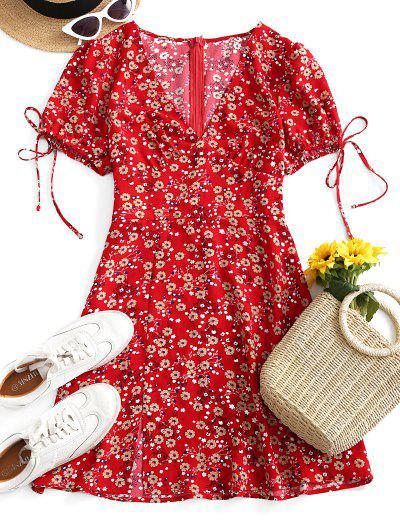 ZAFUL Robe Evasée Fendue Nouée Fleurie Imprimée - Rouge Lave L