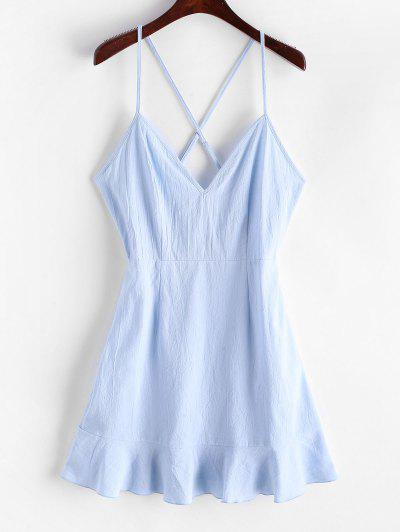 ZAFUL Ruffles Criss Cross Solid Cami Dress - Pastel Blue S