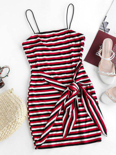 ZAFUL Striped Ribbed Belted Bodycon Dress - Multi-a M