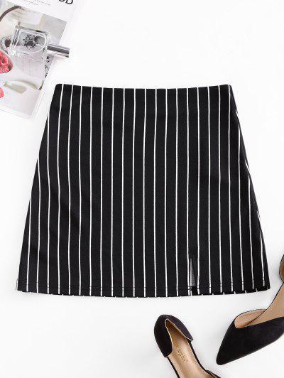 ZAFUL Striped Zip Fly Slit Mini Skirt - Black S