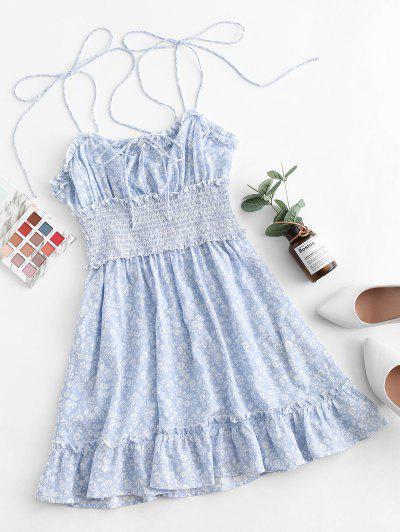 ZAFUL Tiny Floral Smocked Tie Shoulder Dress - Light Sky Blue L