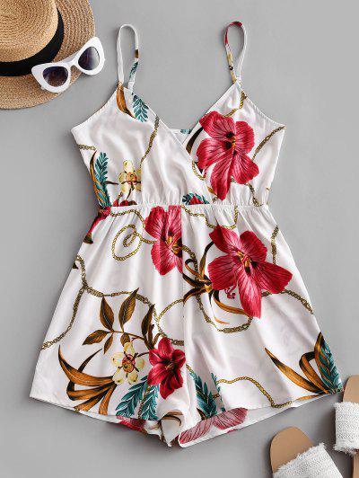 ZAFUL Floral Chain Print Surplice Romper - White S