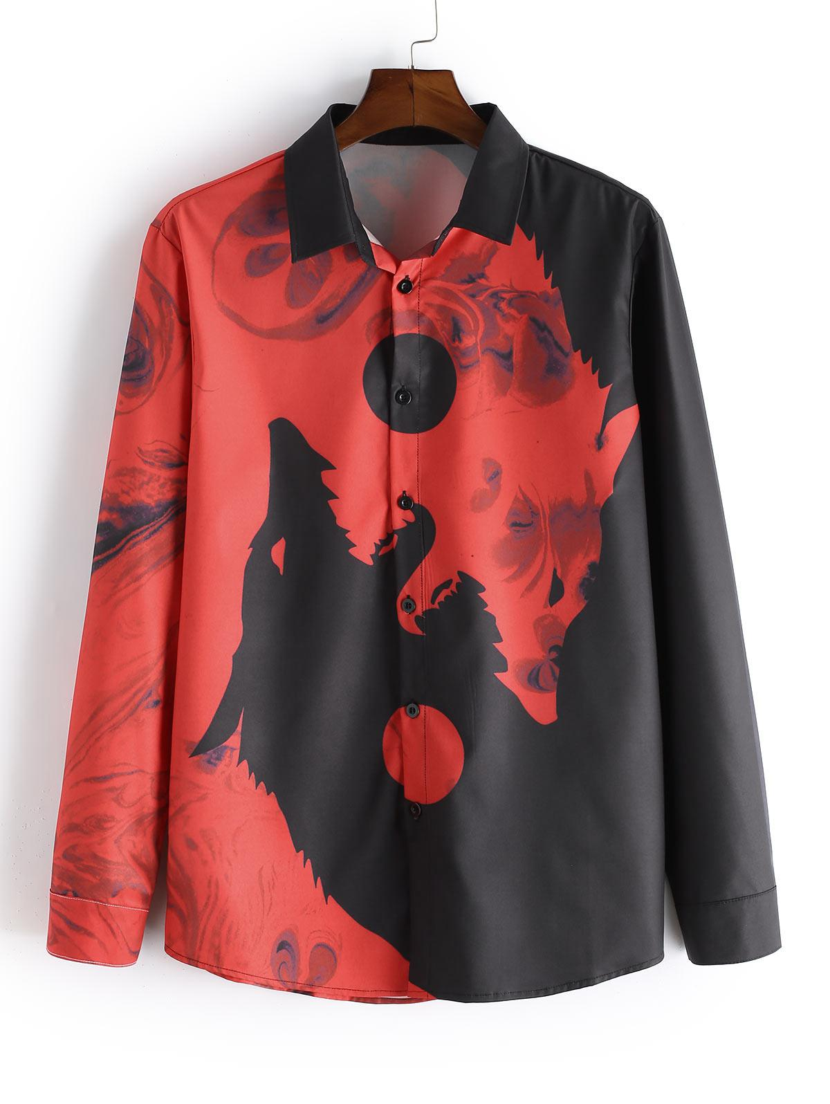 Wolf Print Button Long Sleeves Shirt thumbnail