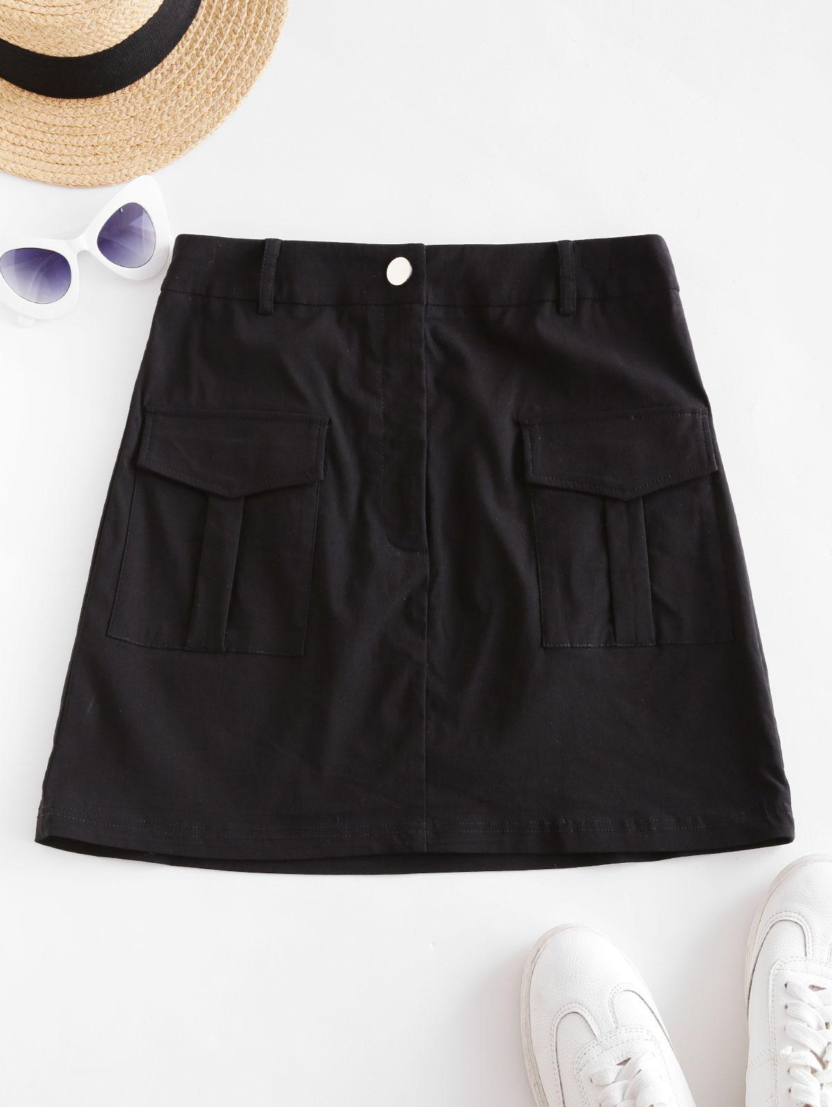 ZAFUL Pocket Zip Fly Mini Cargo Skirt