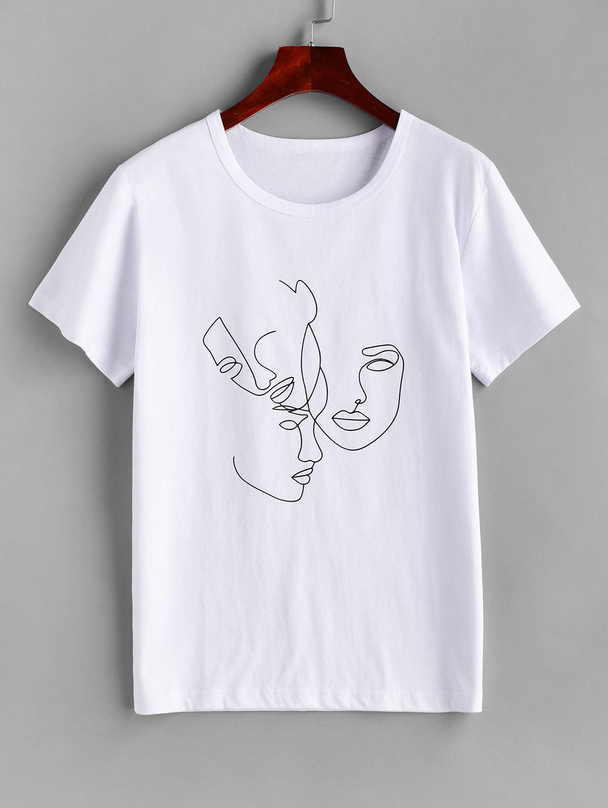 Sketch Abstract Figure Print Short Sleeve Tee