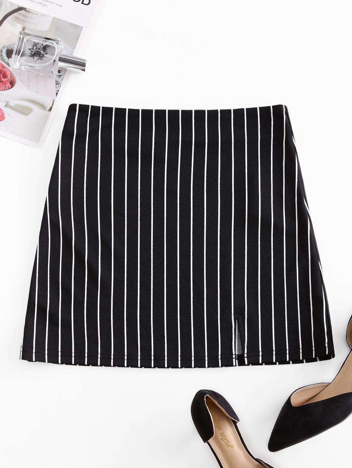 ZAFUL Striped Zip Fly Slit Mini Skirt