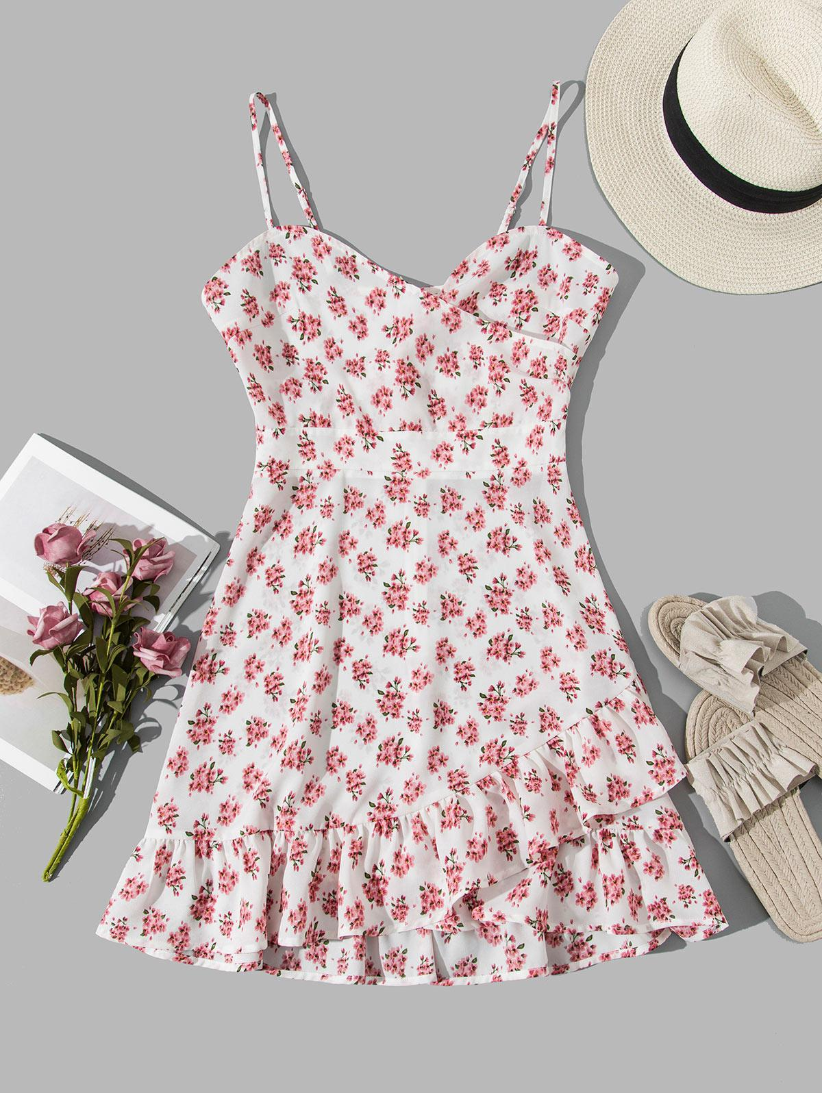 ZAFUL Flower Cami Flippy Hem Dress