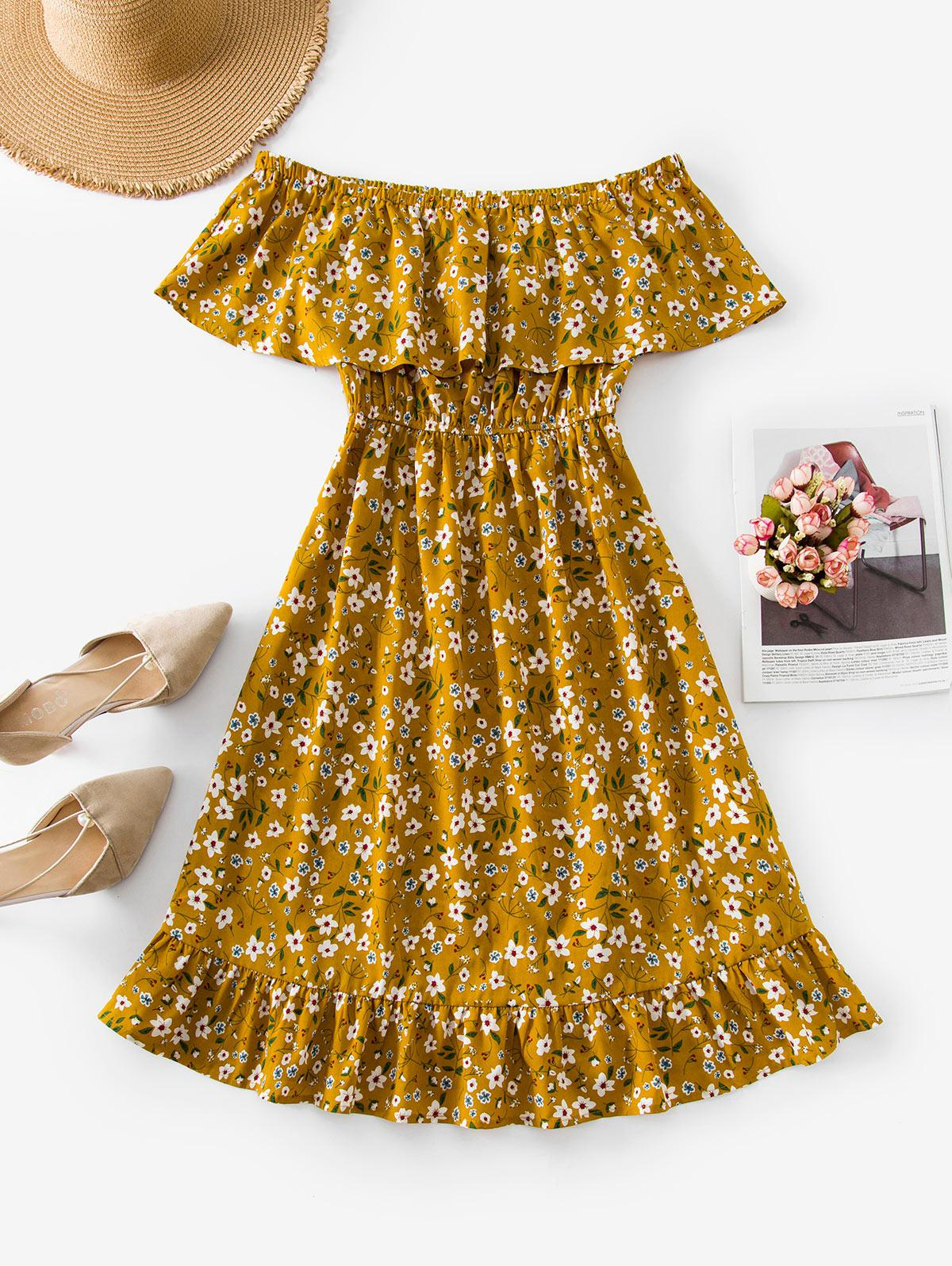 ZAFUL Flounce Ditsy Print Off The Shoulder Dress