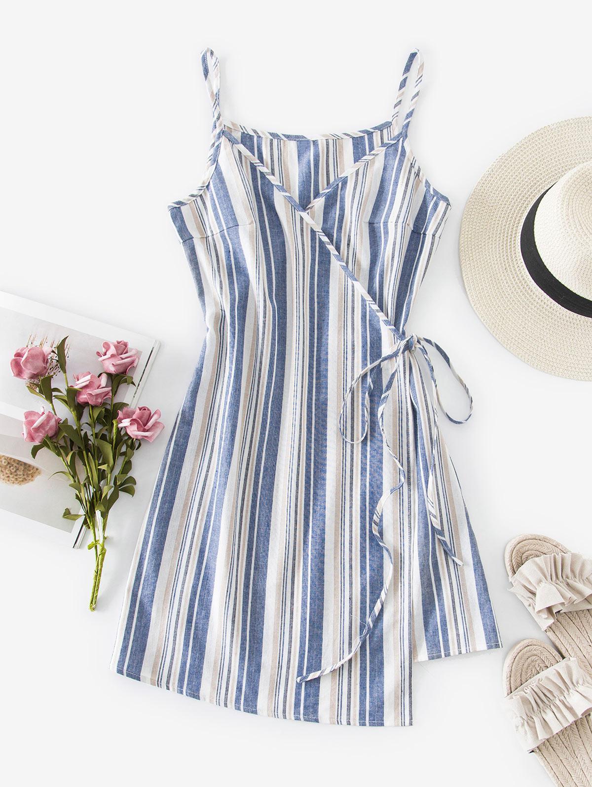 ZAFUL Striped Wrap Cami Dress
