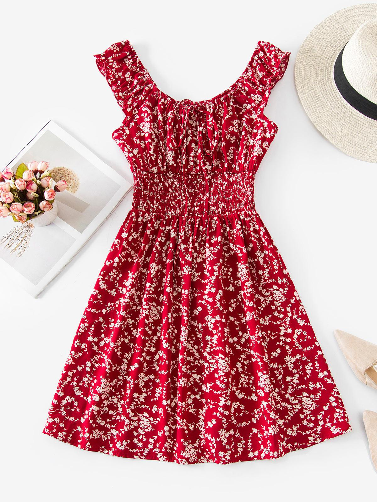 ZAFUL Shirred Waist Ditsy Print Dress
