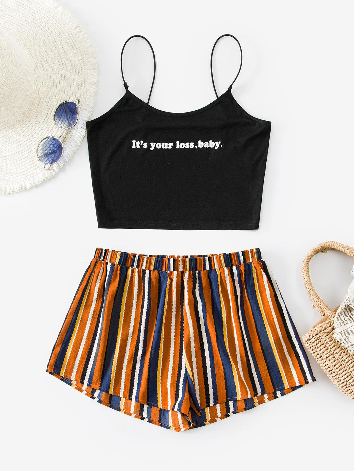 ZAFUL Bungee Straps Graphic Striped Two Piece Set