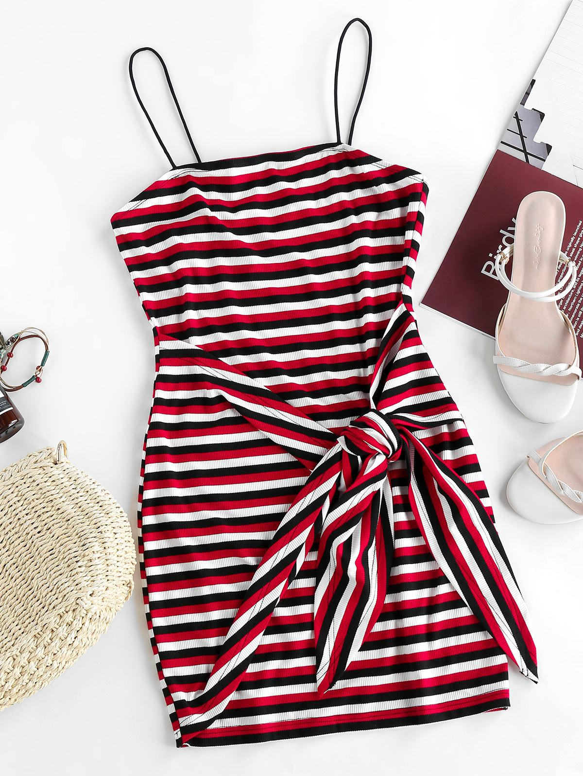 ZAFUL Striped Ribbed Belted Bodycon Dress