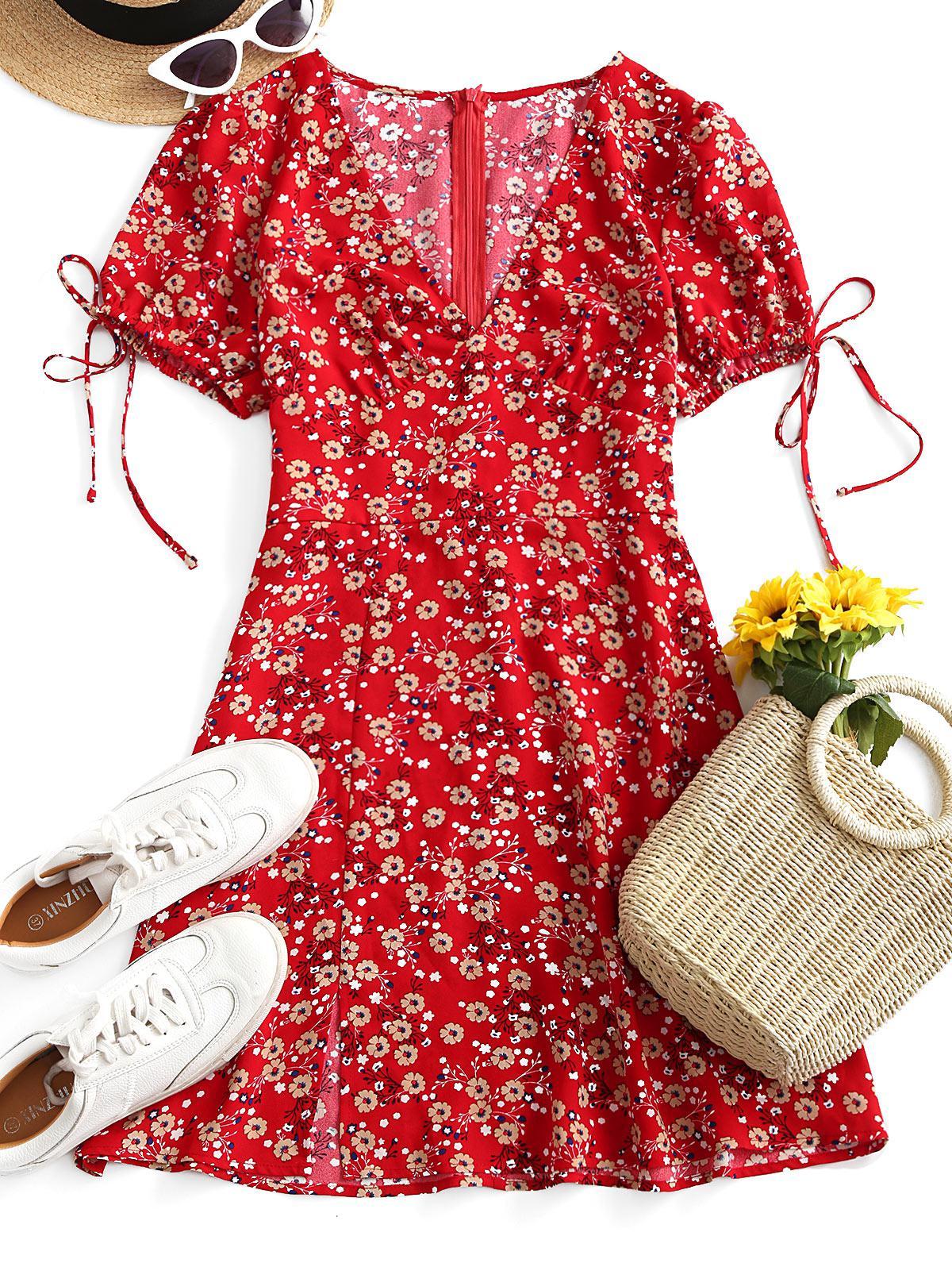 ZAFUL Floral Print Knotted Slit Flare Dress