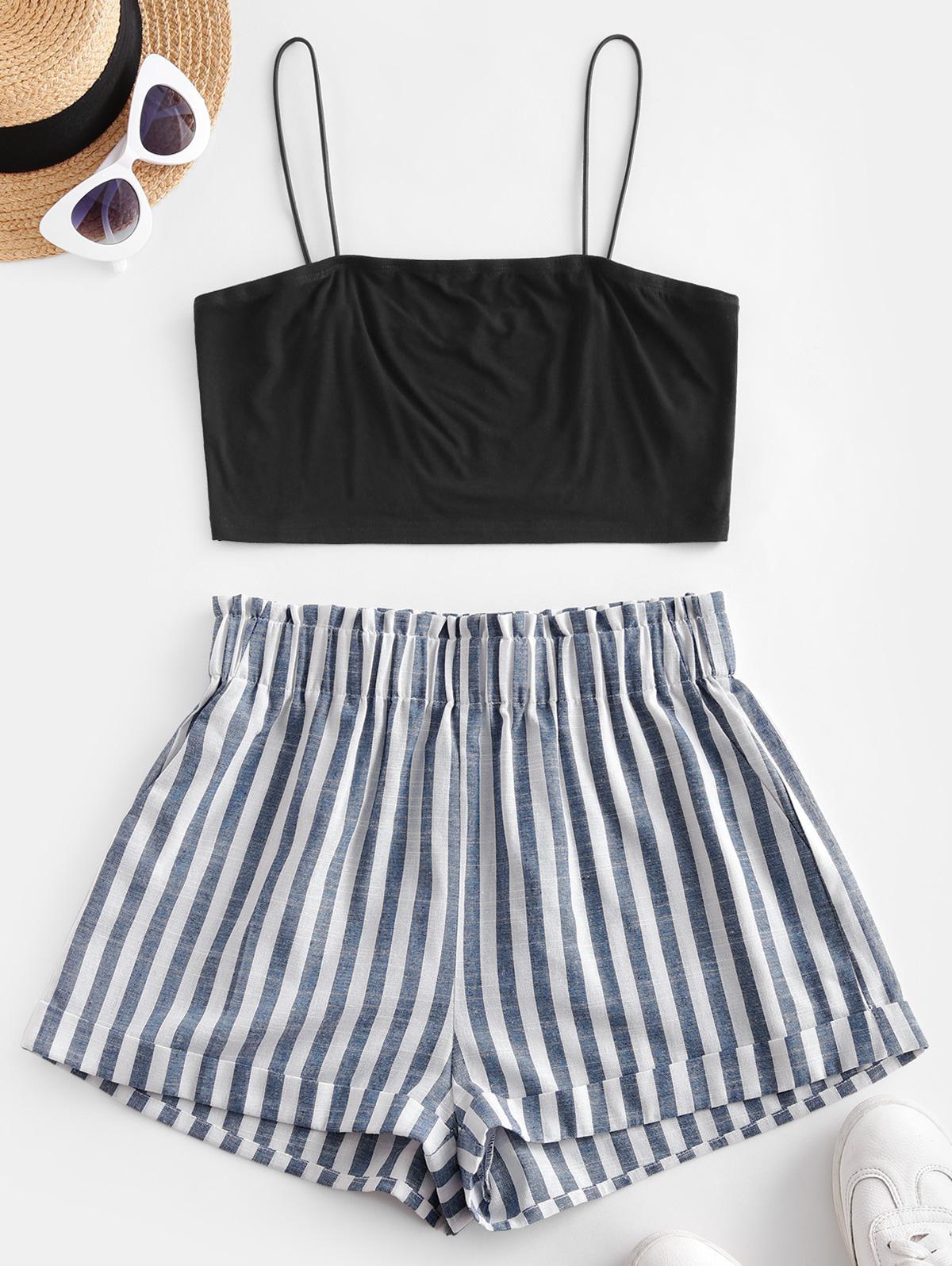 ZAFUL Striped Cami Pocket Two Piece Shorts Set