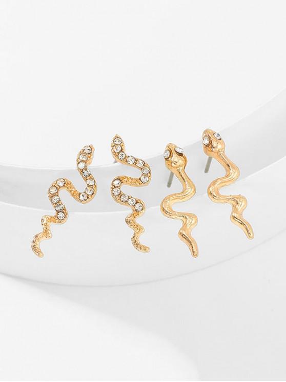 Conjunto de Aretes de Diamantes de Imitación de Serpiente - Oro