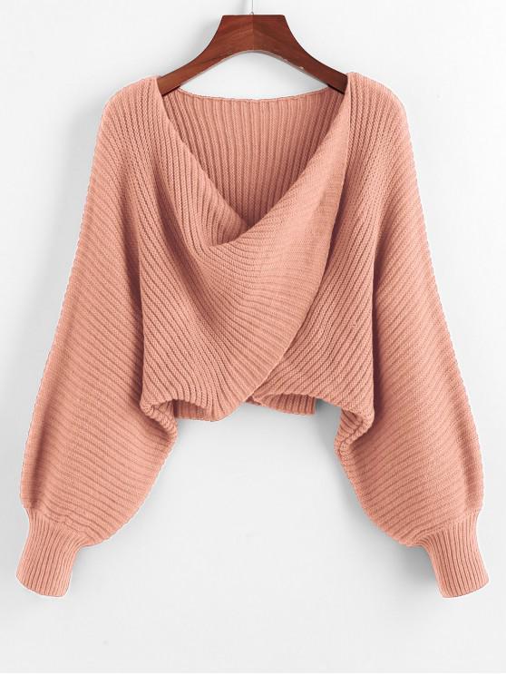 Verdrehter Asymmetrische Crop Pullover - Rose S