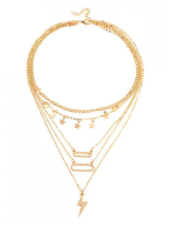 Collar Cadena de relámpagos estrella de multi capa - Oro