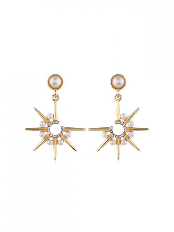Pendientes de la estrella de la perla de imitación - Oro