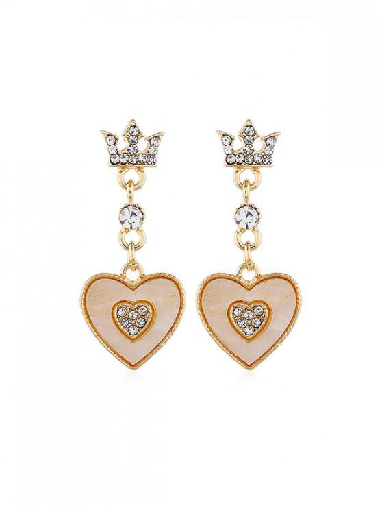 Los pendientes de gota del Rhinestone de la corona del corazón - Amarillo