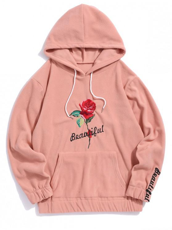 shop Rose Letter Embroidered Hoodie - DEEP PEACH M