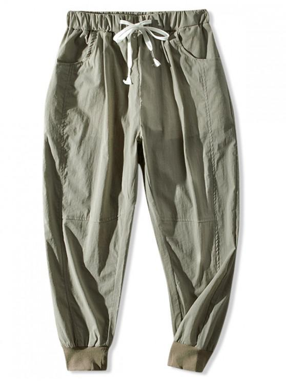 buy Letter Pattern Drawstring Jogger Pants - CAMOUFLAGE GREEN 2XL