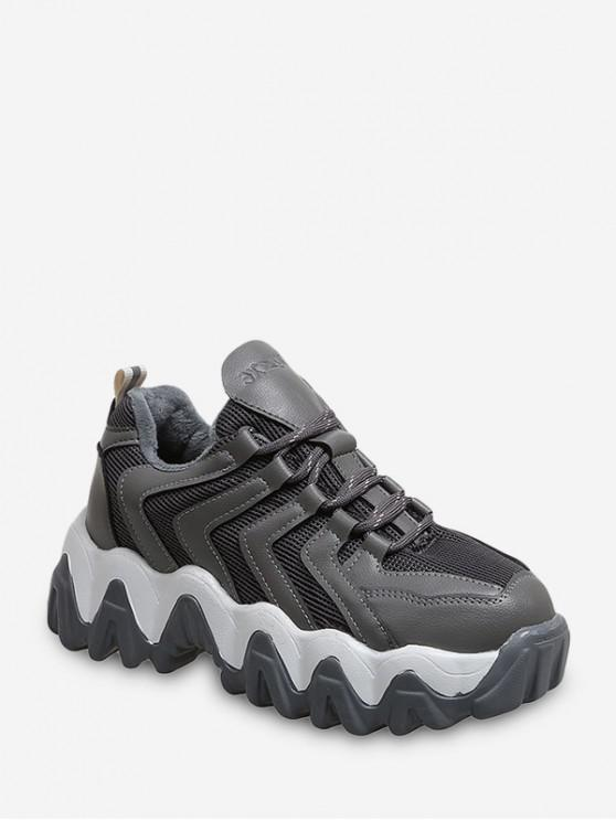 fashion Zigzag Breathable Chunky Outdoor Sneakers - GRAY EU 42