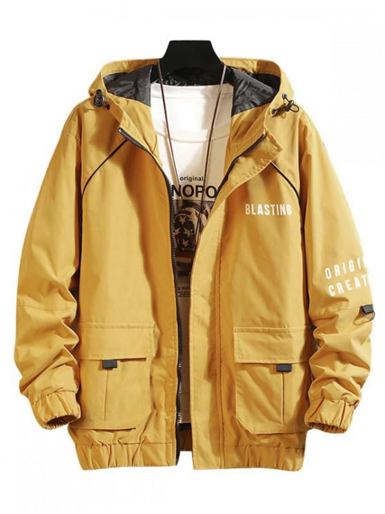 latest Blasting Letter Print Flap Pocket Hooded Cargo Jacket - YELLOW M