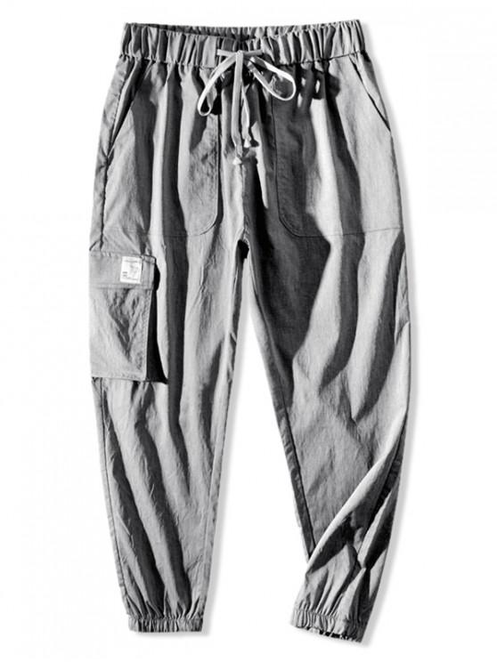 fashion Graphic Pattern Drawstring Pocket Jogger Pants - LIGHT GRAY S