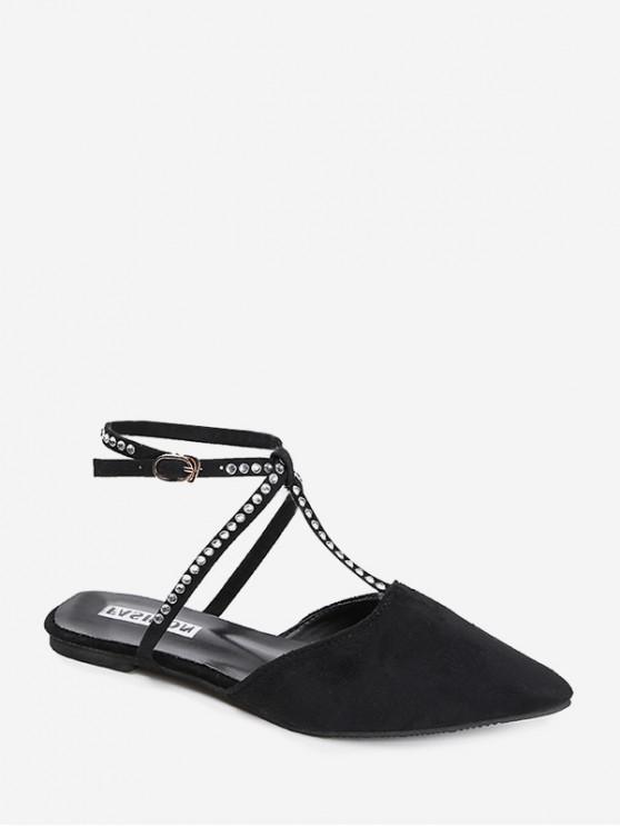 حجر الراين واشار تو أحذية Slingback شقة - أسود الاتحاد الأوروبي 38
