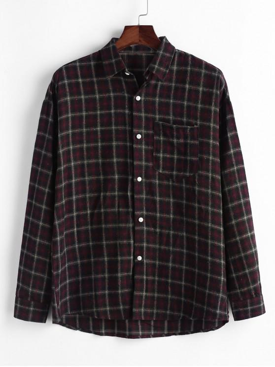 women Plaid Chest Pocket Long Sleeve Button Shirt - RED L