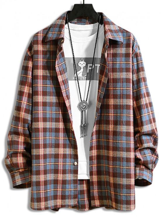 women Plaid Print Button Long-sleeved Shirt - MAROON 3XL