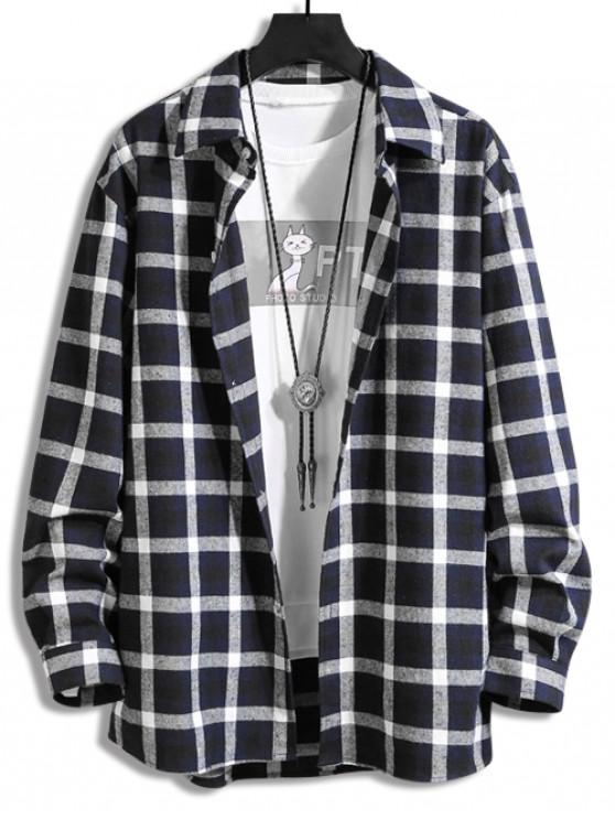 ladies Plaid Print Button Long-sleeved Shirt - CADETBLUE XL