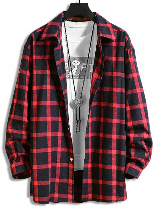 sale Plaid Print Button Long-sleeved Shirt - RED WINE XL