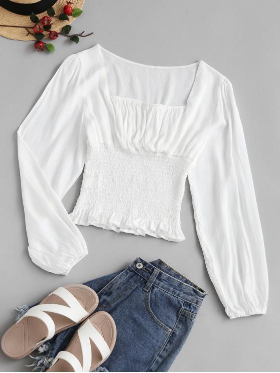 shops Smocked Peplum Hem Milkmaid Blouse - WHITE M