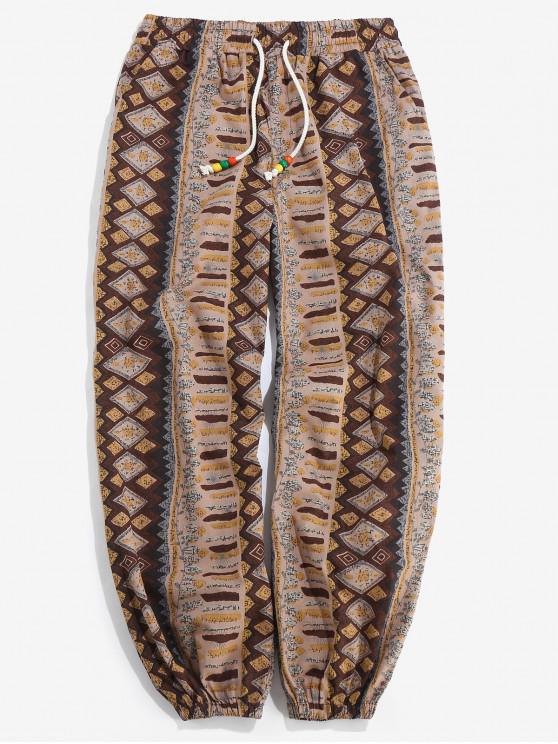 Pantalones Casuales de Estampado Tribal y Cordones - Multicolor S