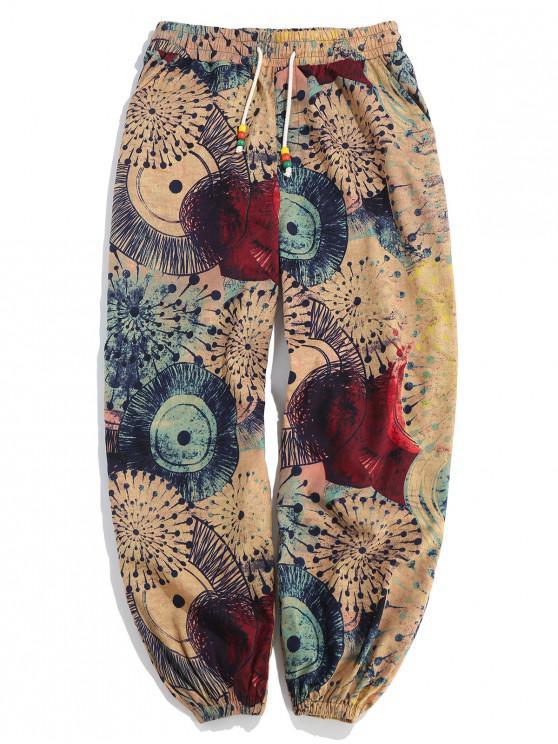 Pantalones Casuales de Estampado de La Novedad - Multicolor M