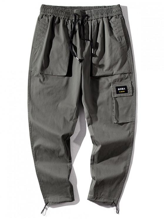 Lettera cinese stampano i pantaloni casual - Verde Dell'esercito XL