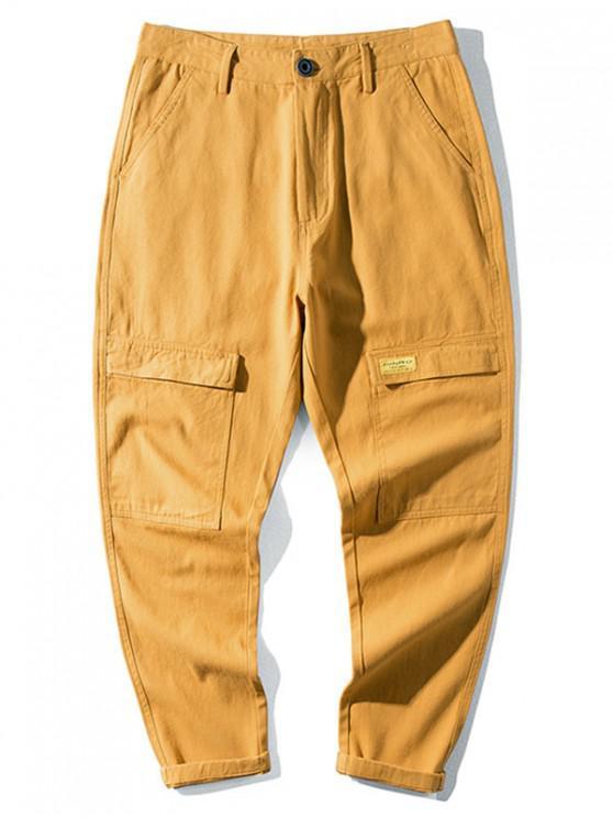 Casual modello della lettera tasca decorato pantaloni - Giallo Ape 34