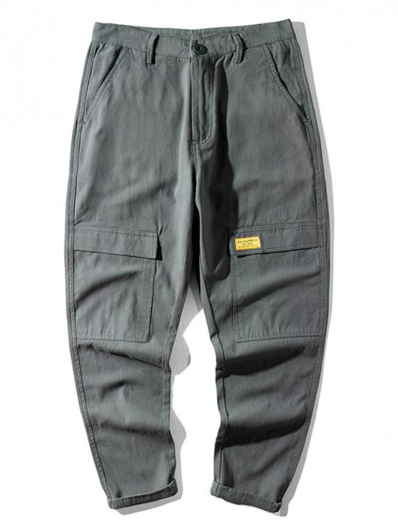 chic Casual Letter Pattern Pocket Decorated Pants - GRAY 32