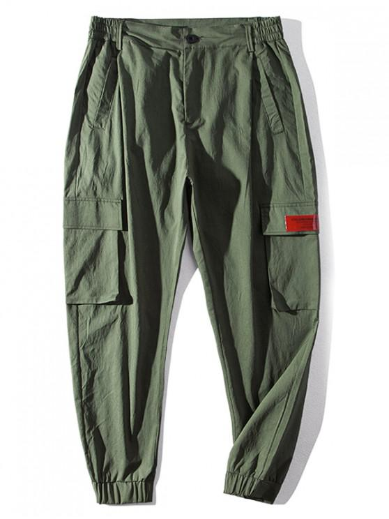 sale Letter Pattern Pocket Casual Pants - ARMY GREEN 2XL