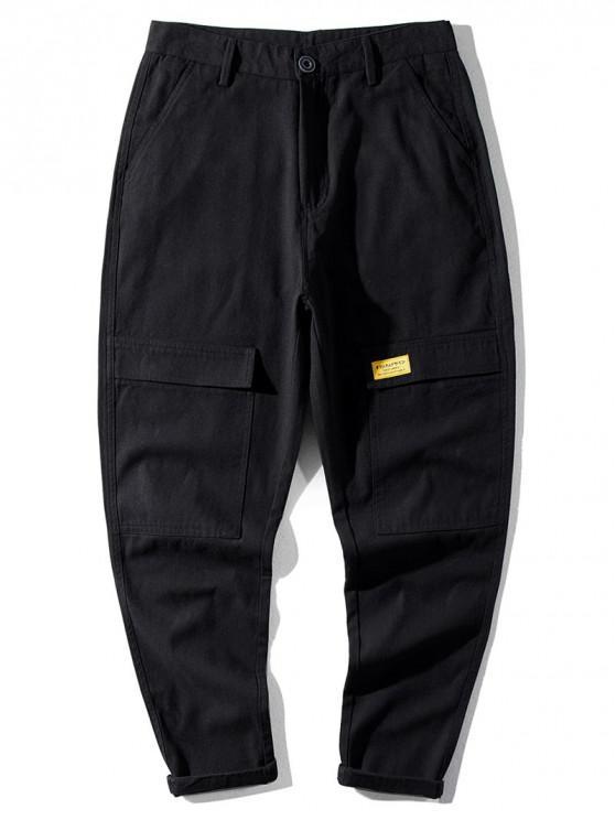 Casual modello della lettera tasca decorato pantaloni - Nero 38