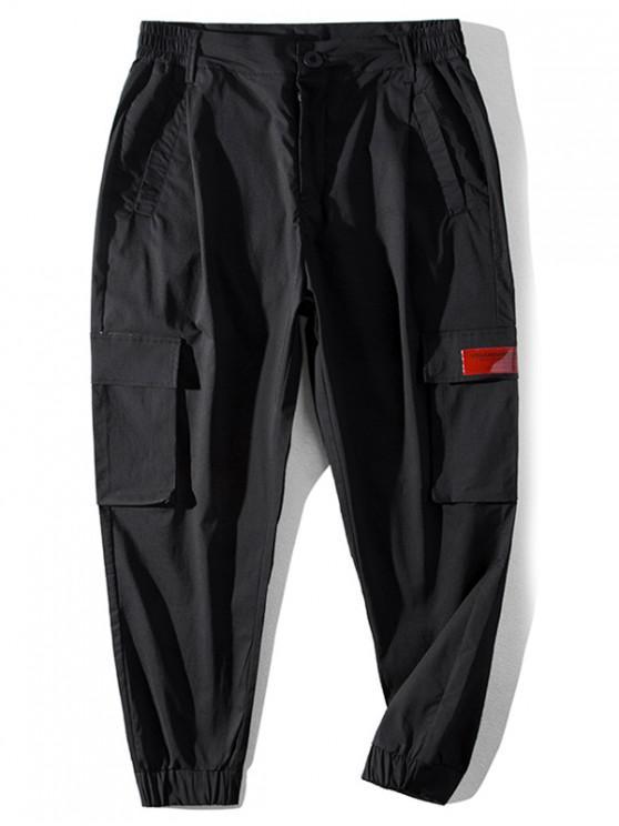 Modello lettera tasca dei pantaloni casual - Nero L