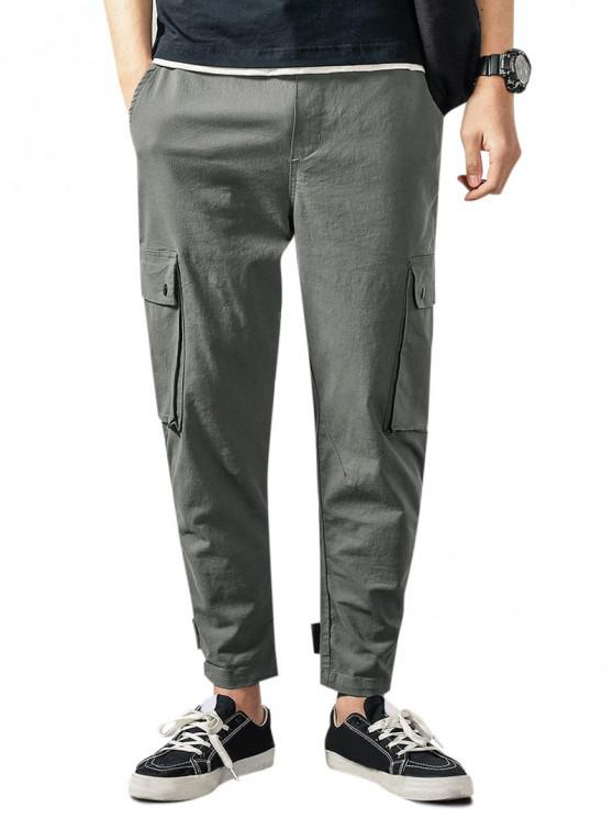 women Solid Flap Pocket Drawstring Cargo Pants - GRAY CLOUD M
