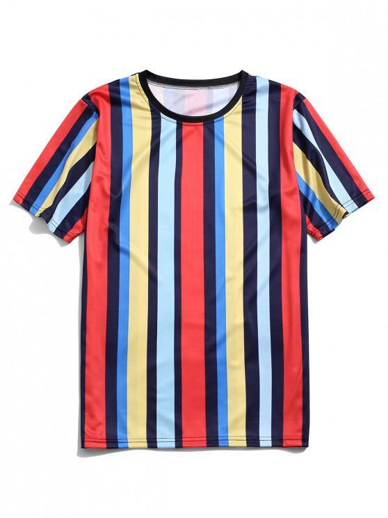 Colorblock strisce casuale manica corta T-shirt - Multi Colori-A 4XL