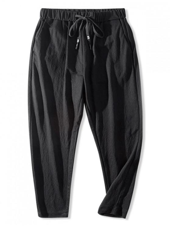 fancy Casual Solid Color Elastic Waist Pants - BLACK M